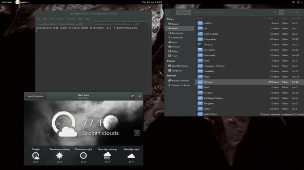 Gnome with dark theme enabled and Oxygen Theme Icons